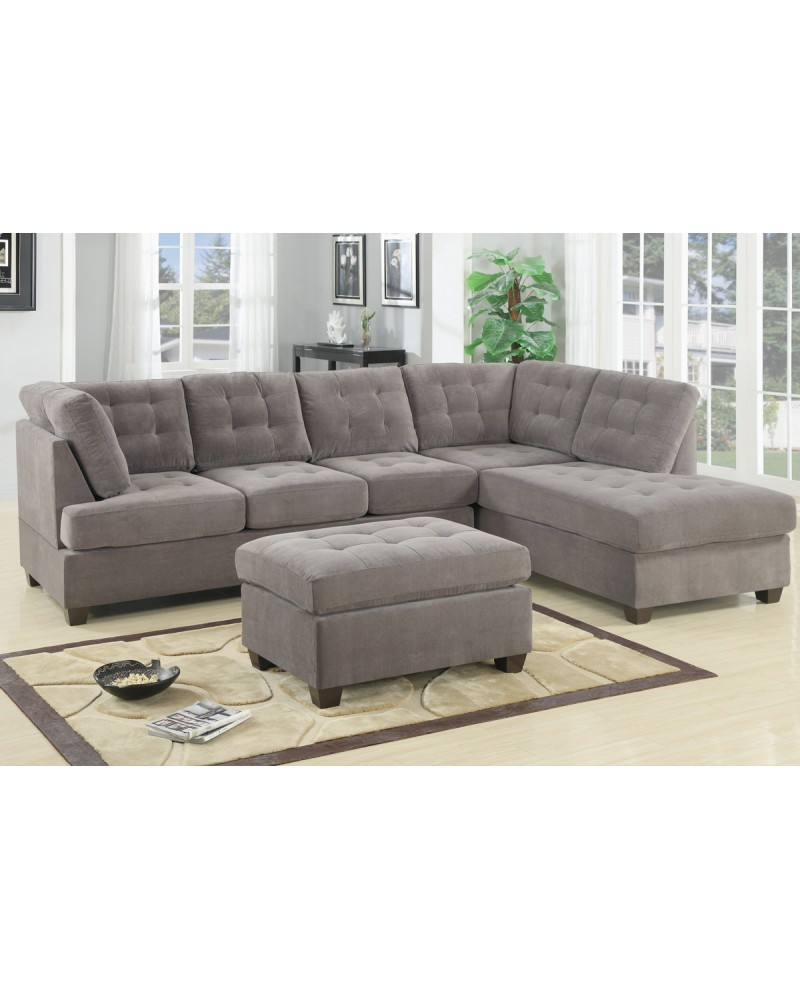 Sectional Sofa, Waffle Suede Sectional Sofa, Waffle Suede, Charcoal