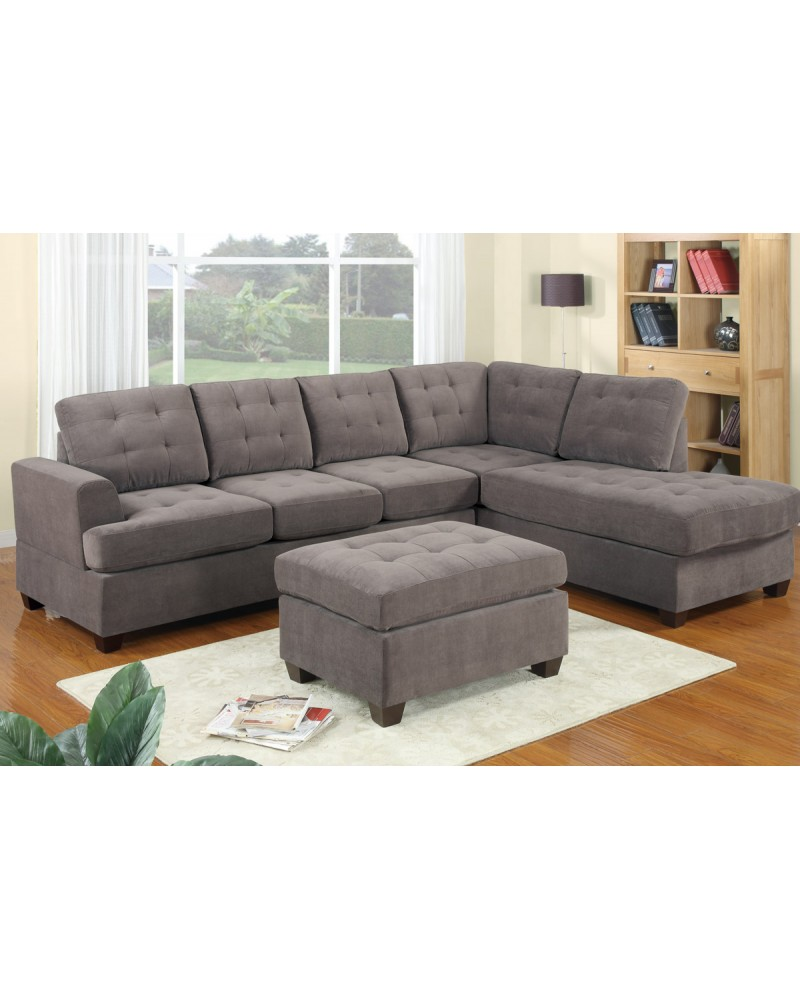 2 Piece Sectional Sofa in Heather Grey