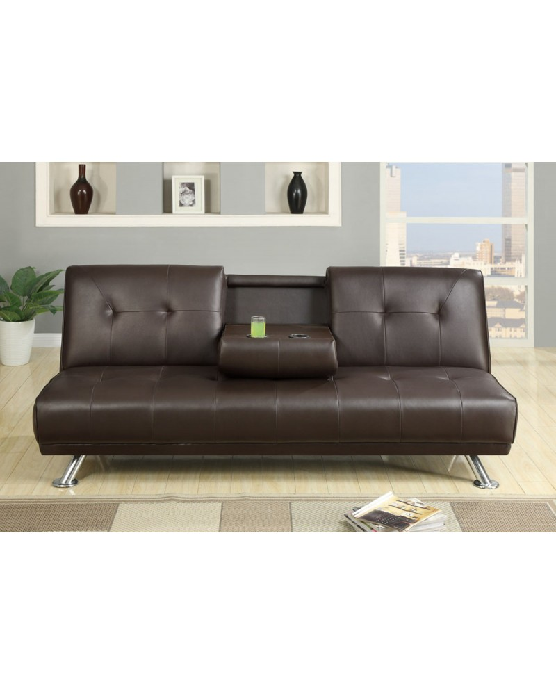Contemporary Faux Leather Futon