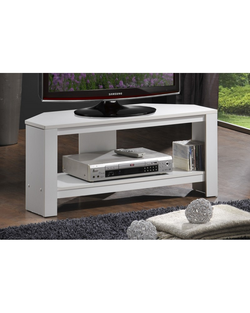 White TV Stand with Shelves