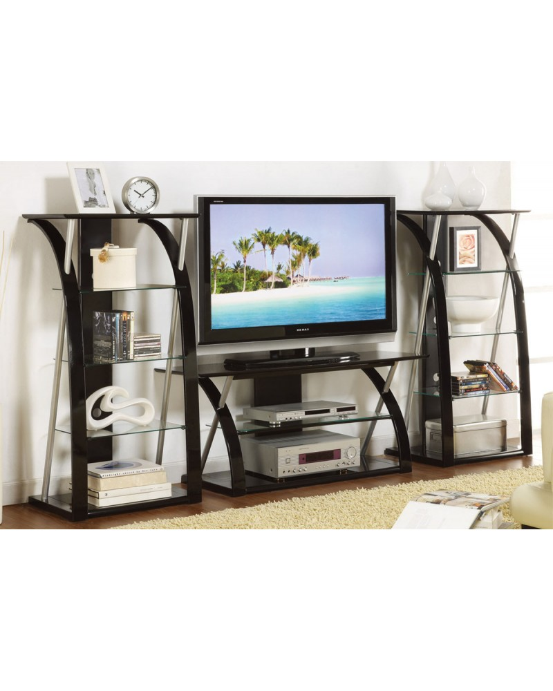 Contemporary TV Stand, Black with Optional Media Shelves