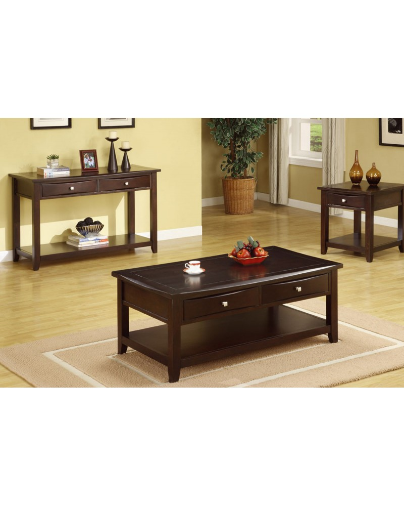 Coffee Table Set with Drawers, Espresso