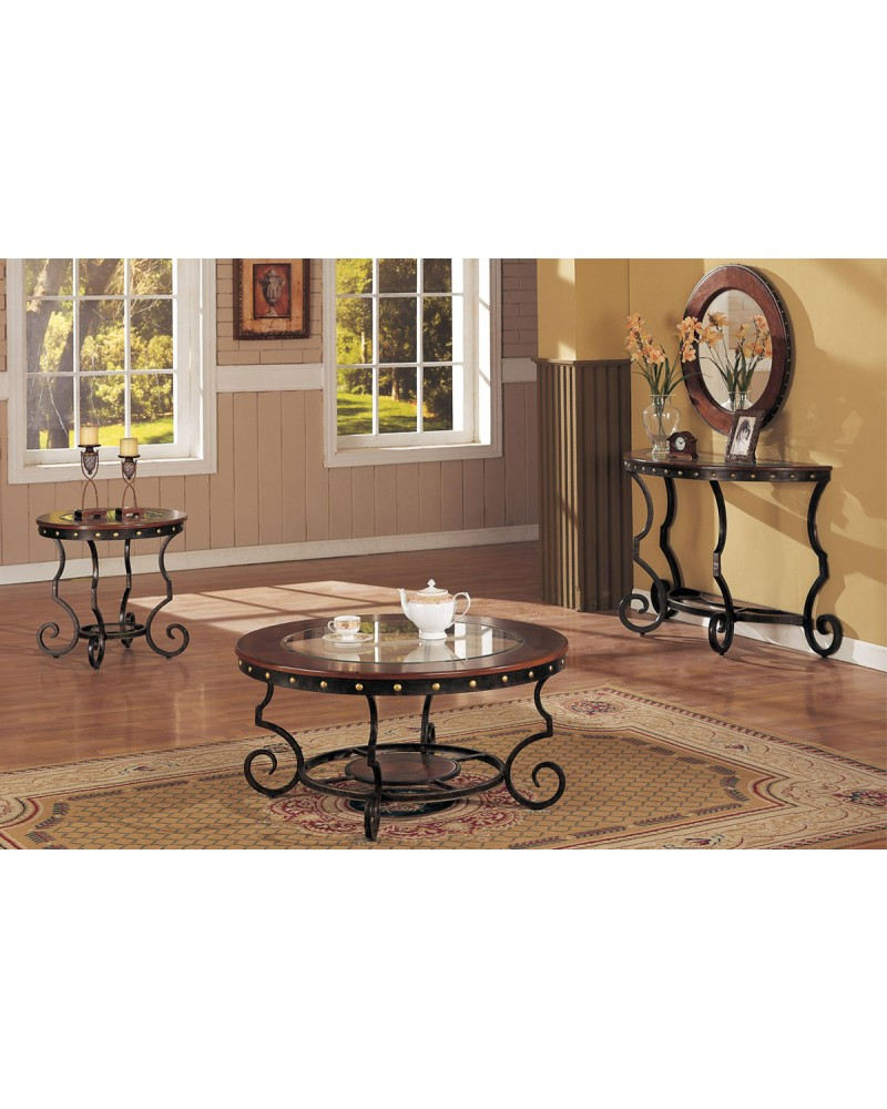 Coffee Table and Matching End and Consol Tables, Round