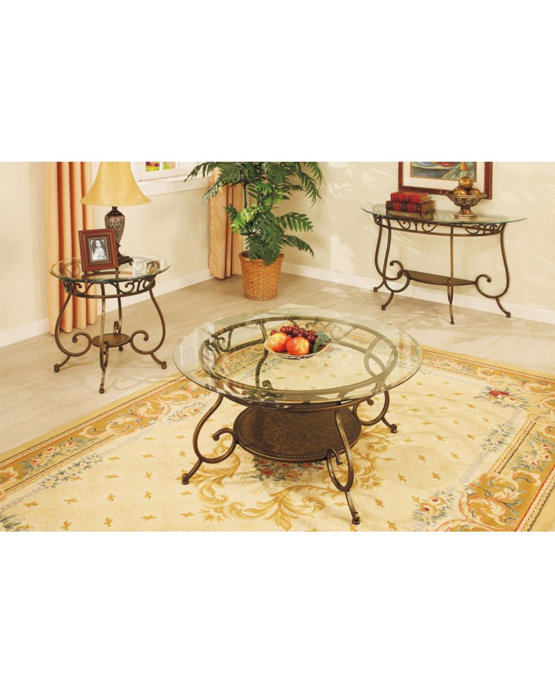 Coffee Table and Matching Console and End Table, Glass Top, Round