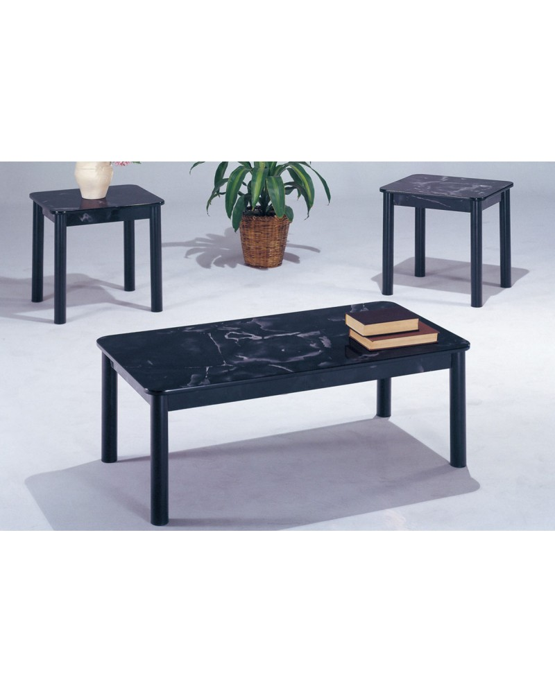 3 Piece Coffee Table Set, Black Faux Marble Top