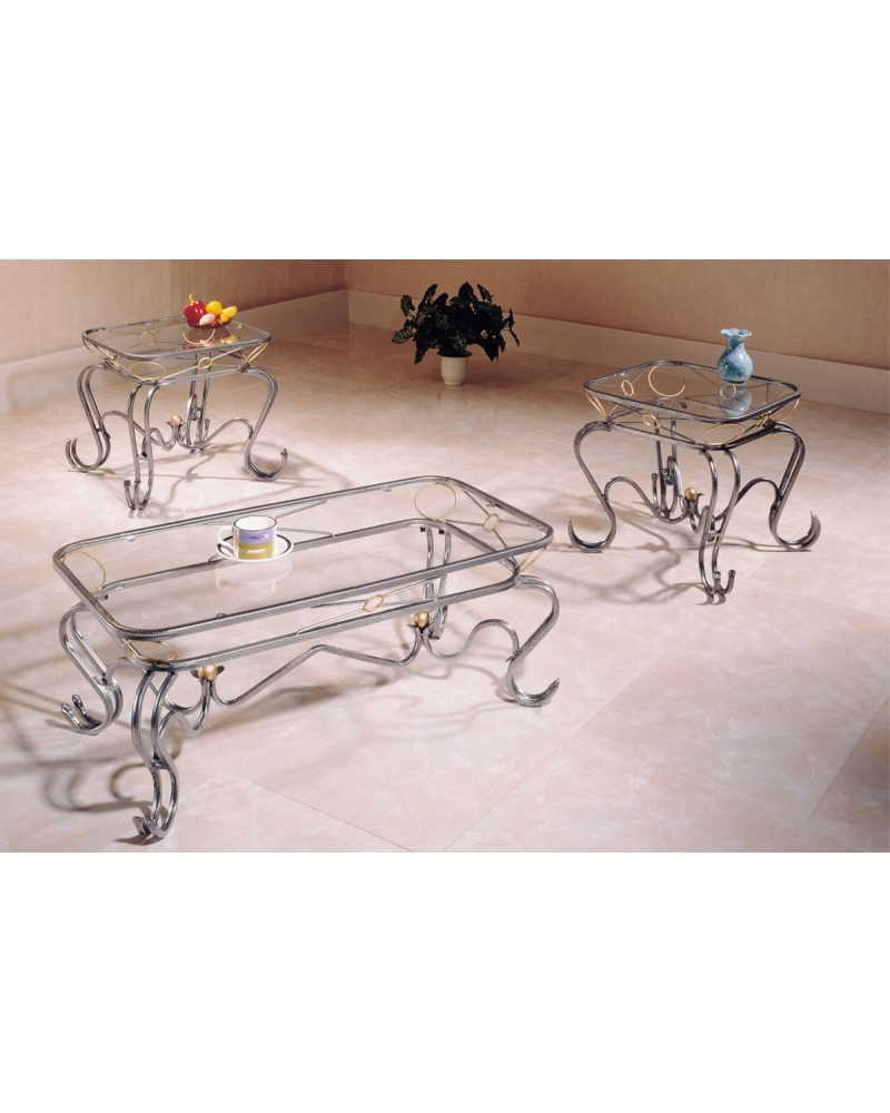 3 Piece Coffee Table Set, Curved Silver Legs, Glass Top