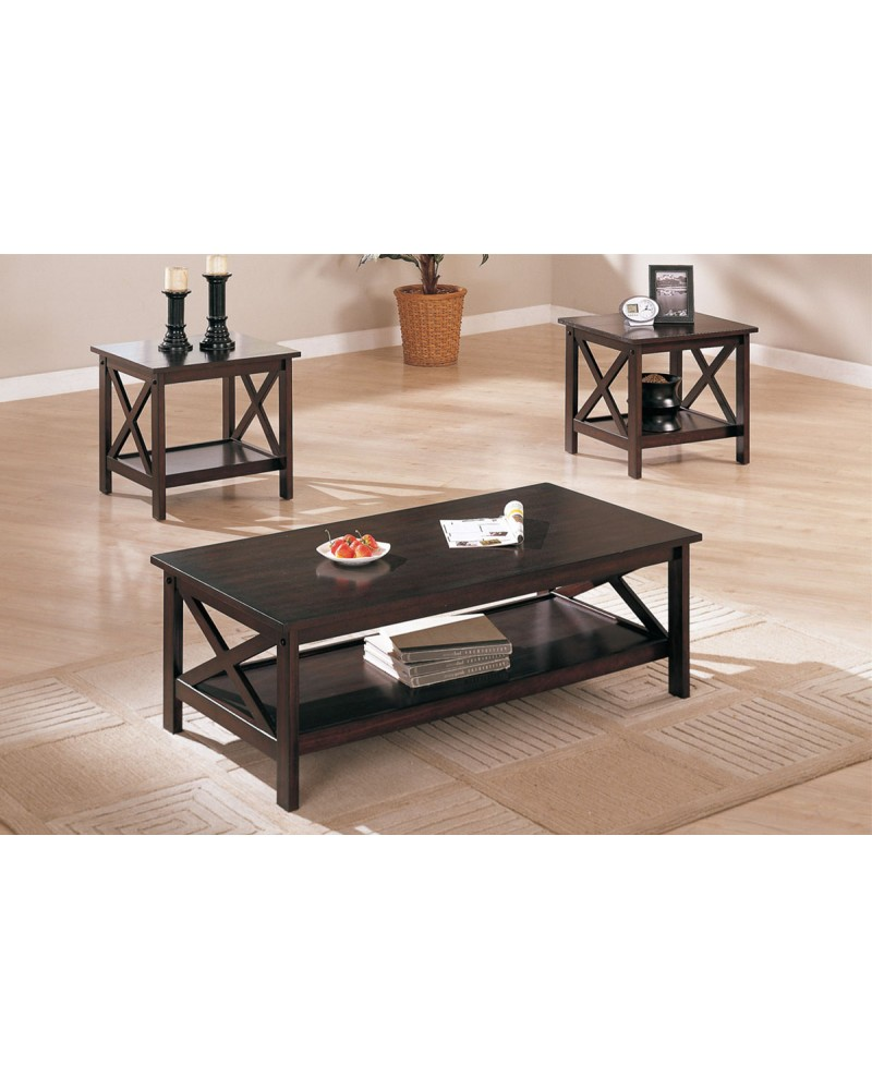 3 Piece Coffee Table Set, Contemporary, Dark Walnut Finish