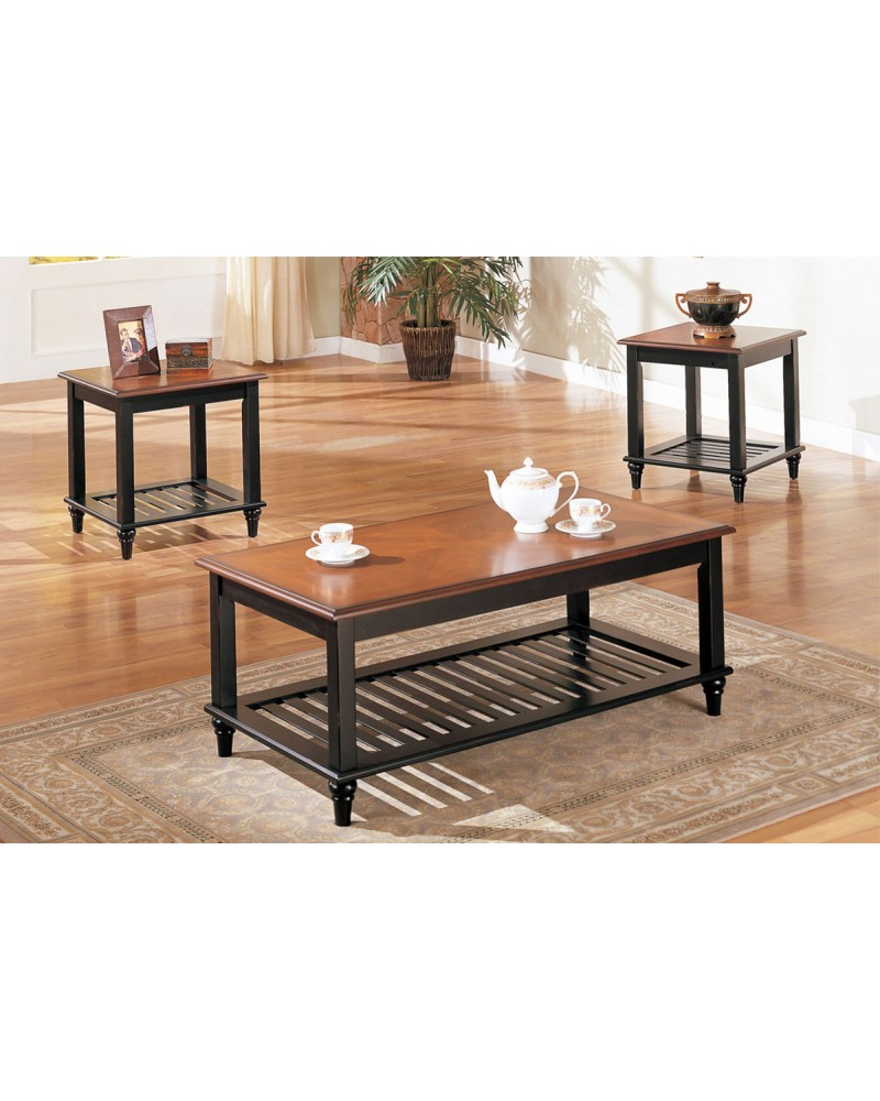 3 Piece Coffee Table Set, Country Style, Two Tone Wood Finish