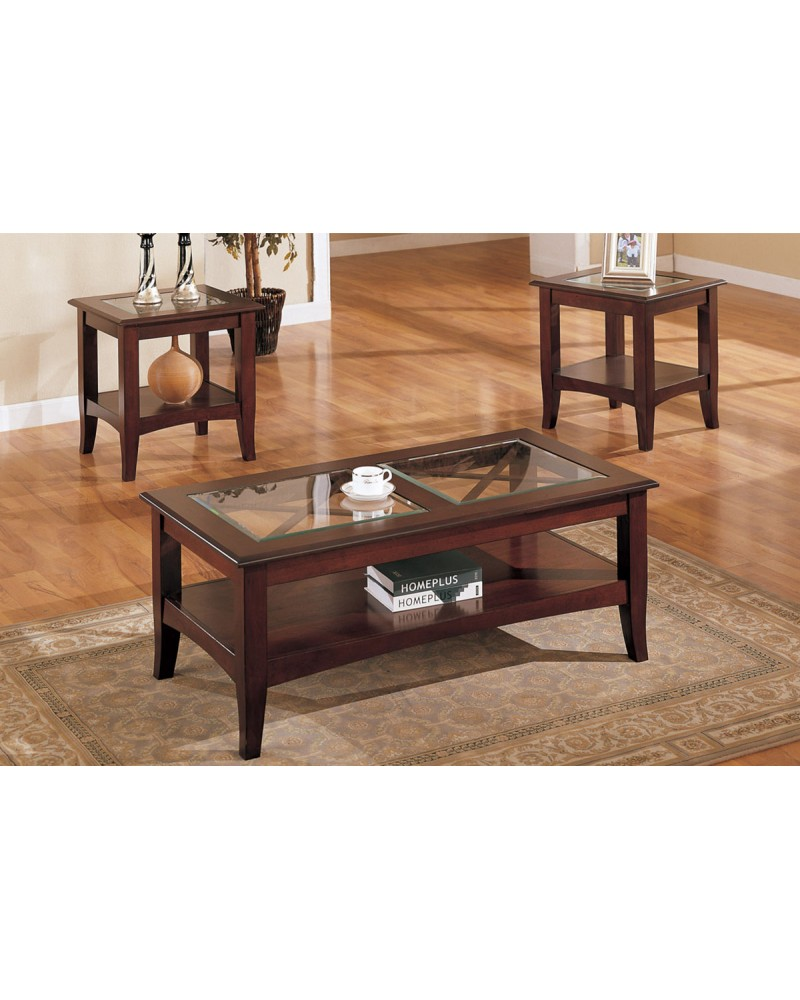 3 Piece Coffee Table Set, Dark Mahogany with Glass Panel Top