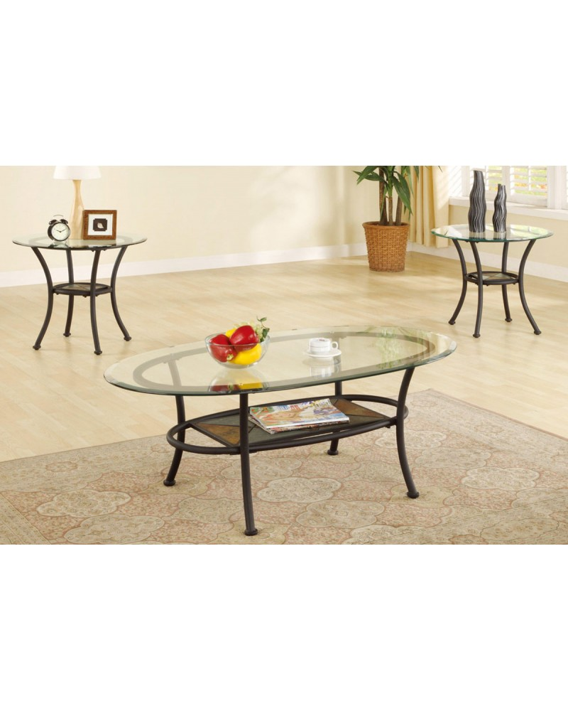 3 Piece Coffee Table Set, Elliptical Glass Top with Stone Mosaic Shelf
