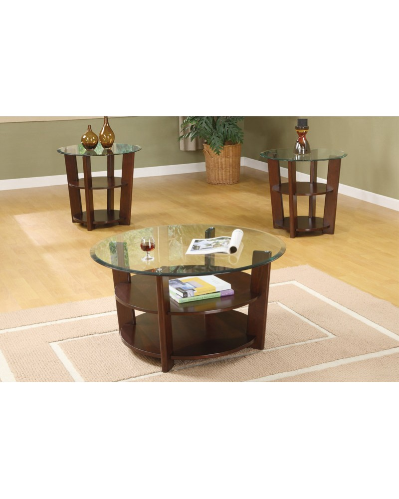 3 Piece Coffee Table Set, Round with Glass Top