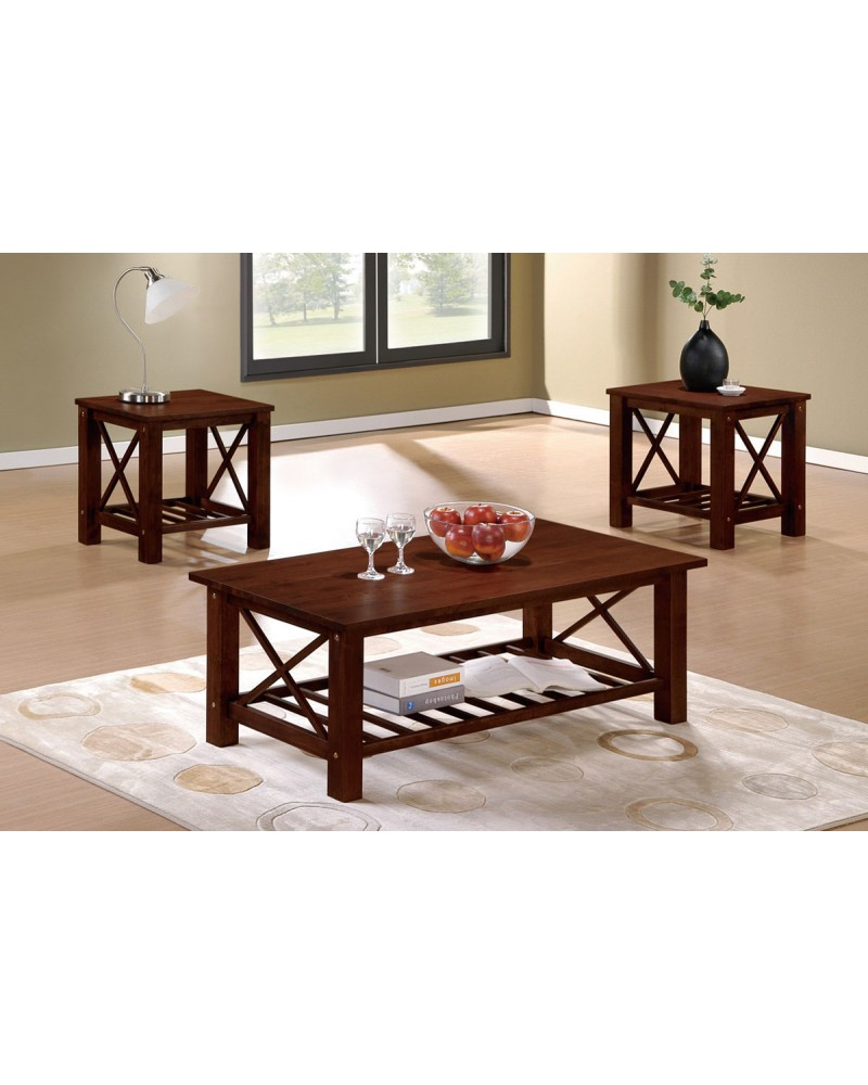 3 Piece Coffee Table Set, Contemporary Wood Finish