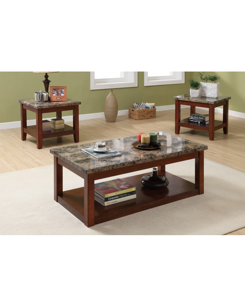 3 Piece Coffee Table Set, Cherry Wood Finish, Granite Veneer Top