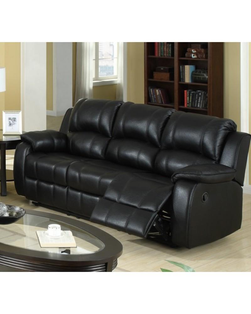 F7046 Leather Reclining Sofa, Black