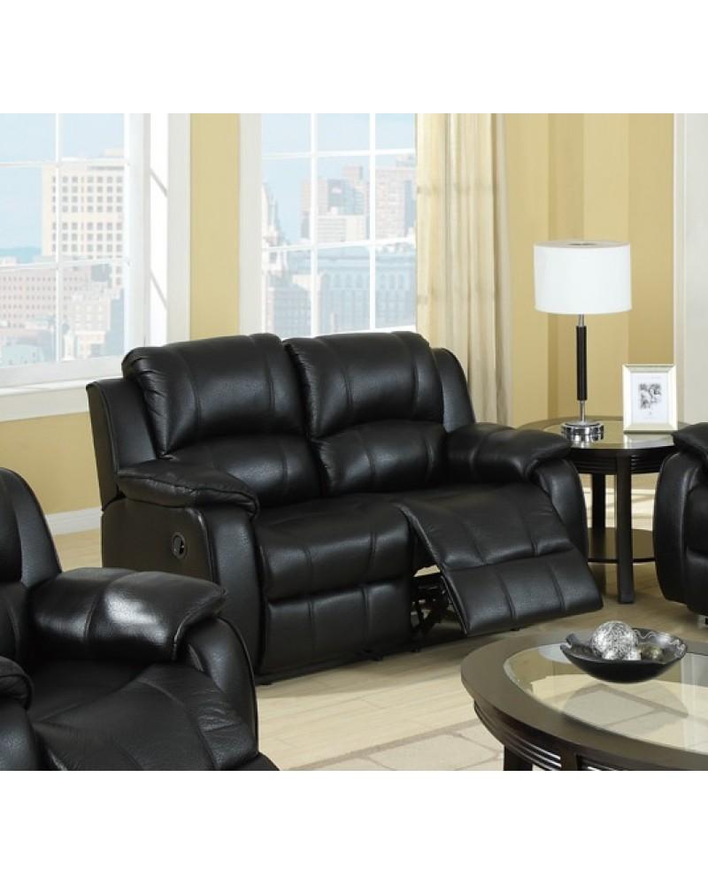 F7045 Leather Reclining Love Seat, Black