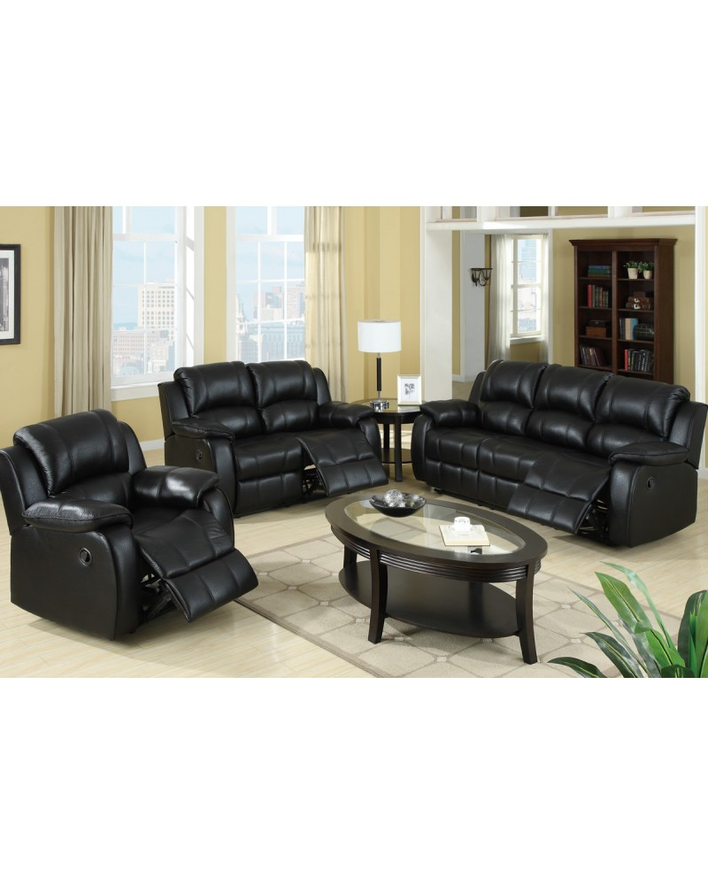 Padded Leatherette Motion Sofa, Loveseat and Recliner, Black