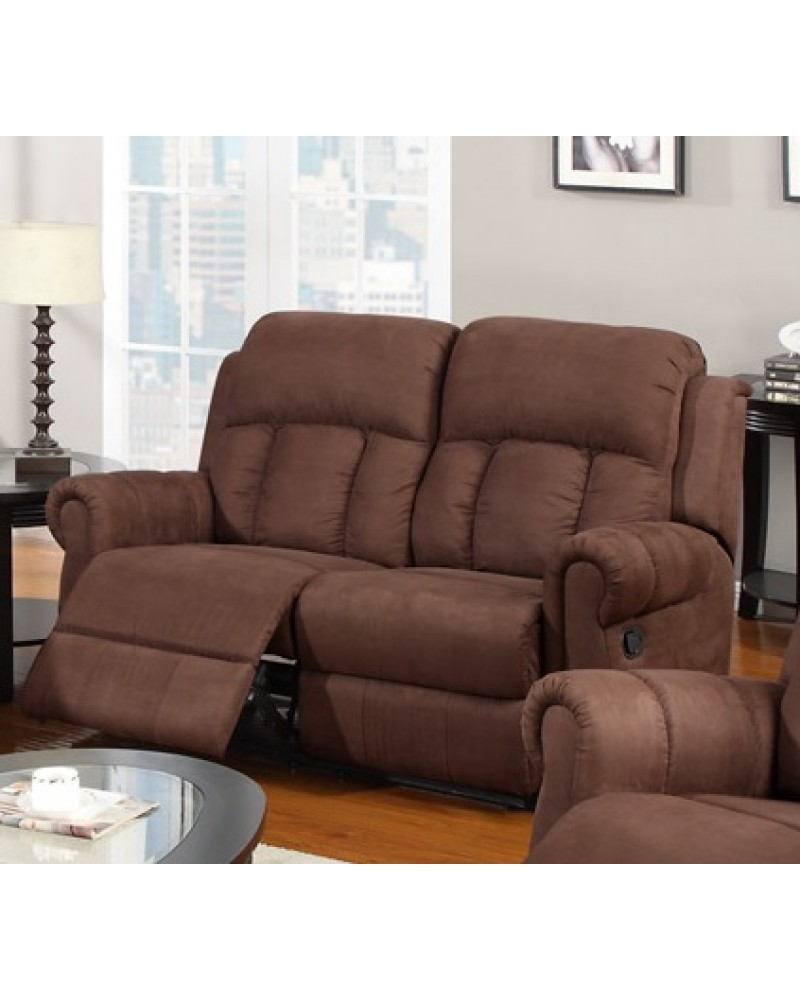 Padded Microfiber Motion Sofa, Loveseat and Recliner, Chocolate Loveseat