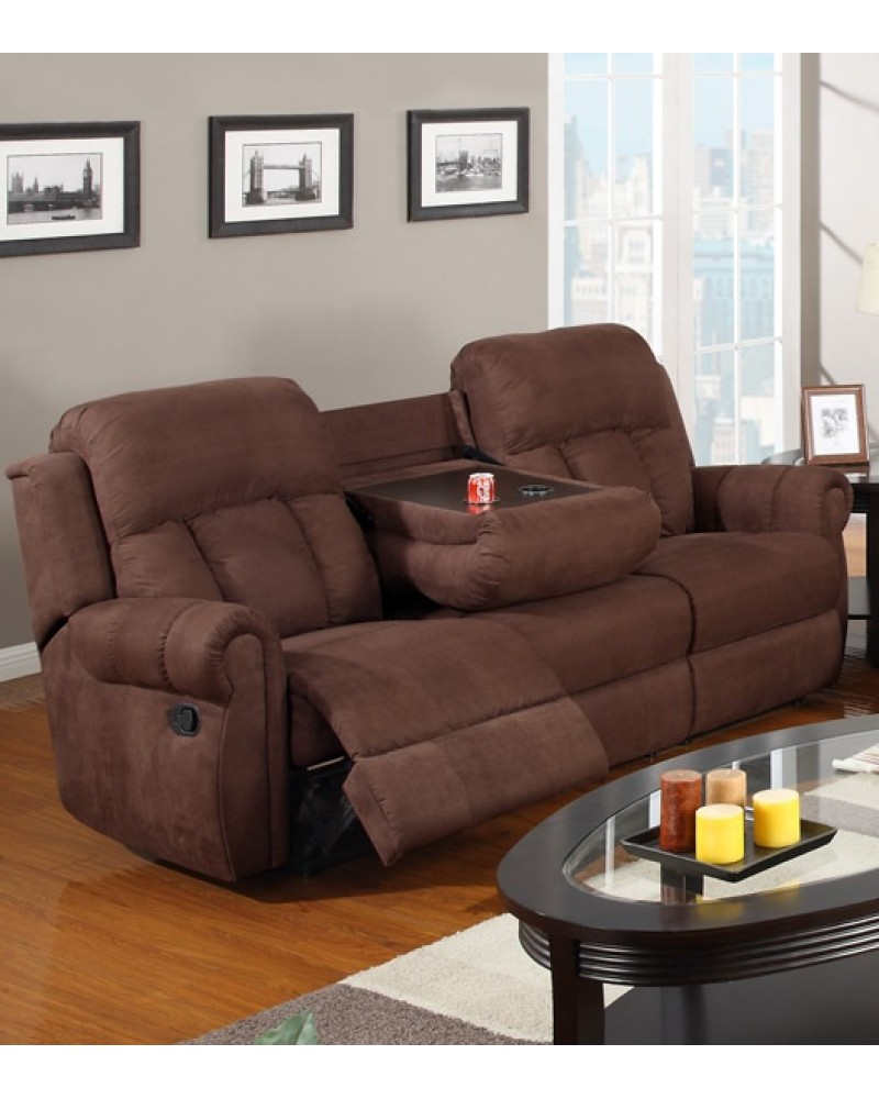 Padded Microfiber Motion Sofa, Loveseat and Recliner, Chocolate Sofa