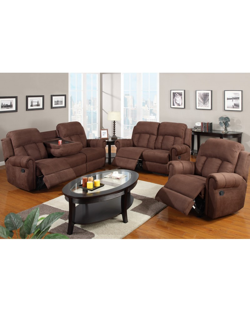 Padded Microfiber Motion Sofa, Loveseat and Recliner, Chocolate