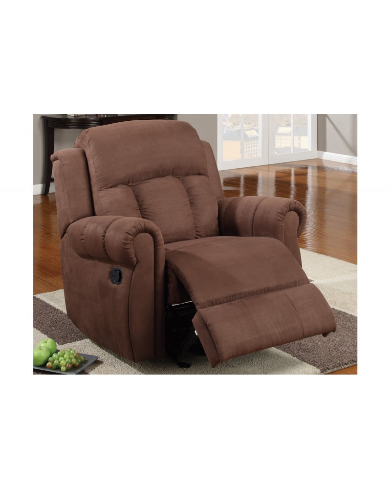 Padded Microfiber Motion Sofa, Loveseat and Recliner, Chocolate Rocker/Recliner