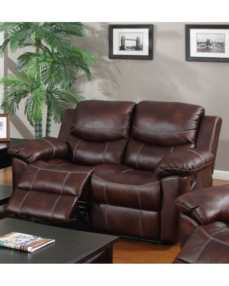 Padded Leatherette Motion Sofa, Loveseat and Recliner, Espresso Loveseat