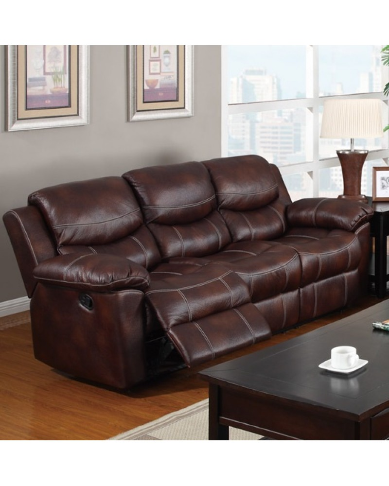 Padded Leatherette Motion Sofa, Loveseat and Recliner, Espresso Sofa
