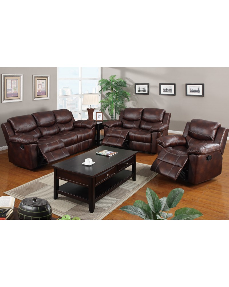 Padded Leatherette Motion Sofa, Loveseat and Recliner, Espresso