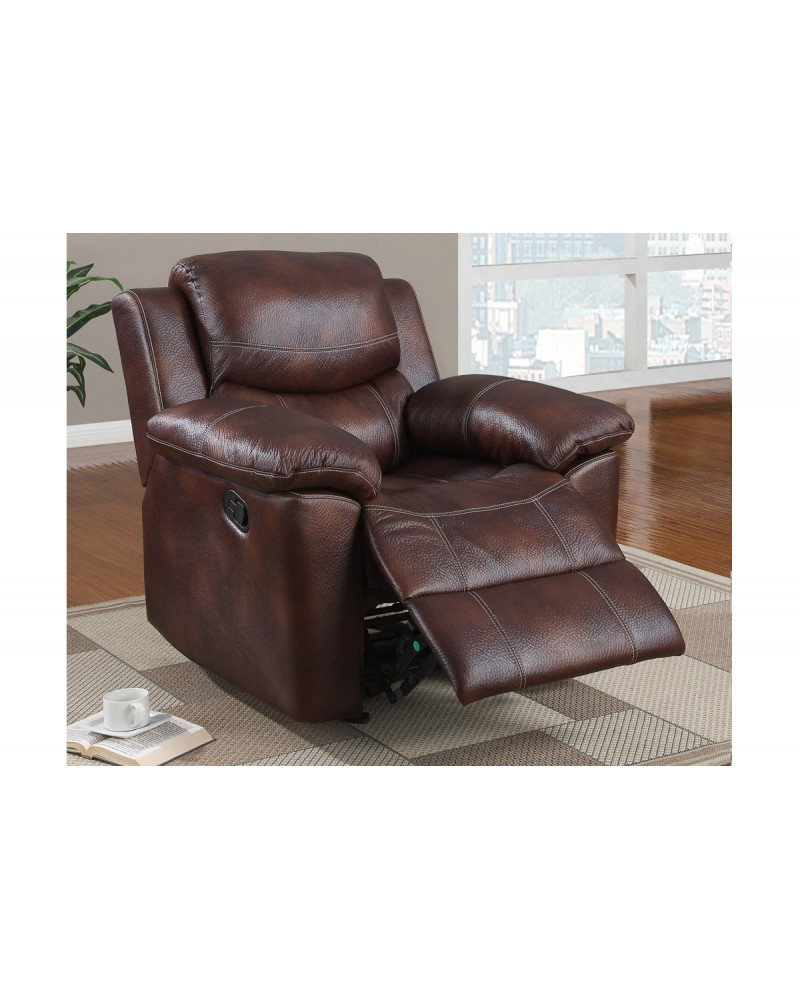 Padded Leatherette Motion Sofa, Loveseat and Recliner, Espresso Rocker/Recliner