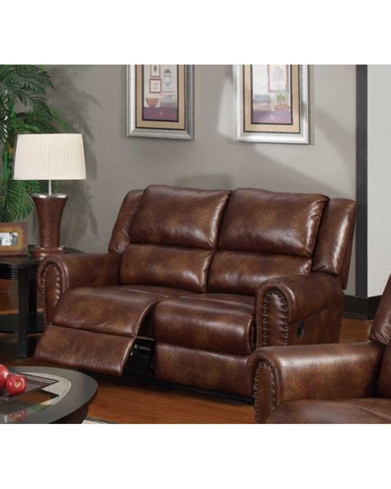 Padded Leatherette Motion Sofa, Loveseat and Recliner, Brown Loveseat