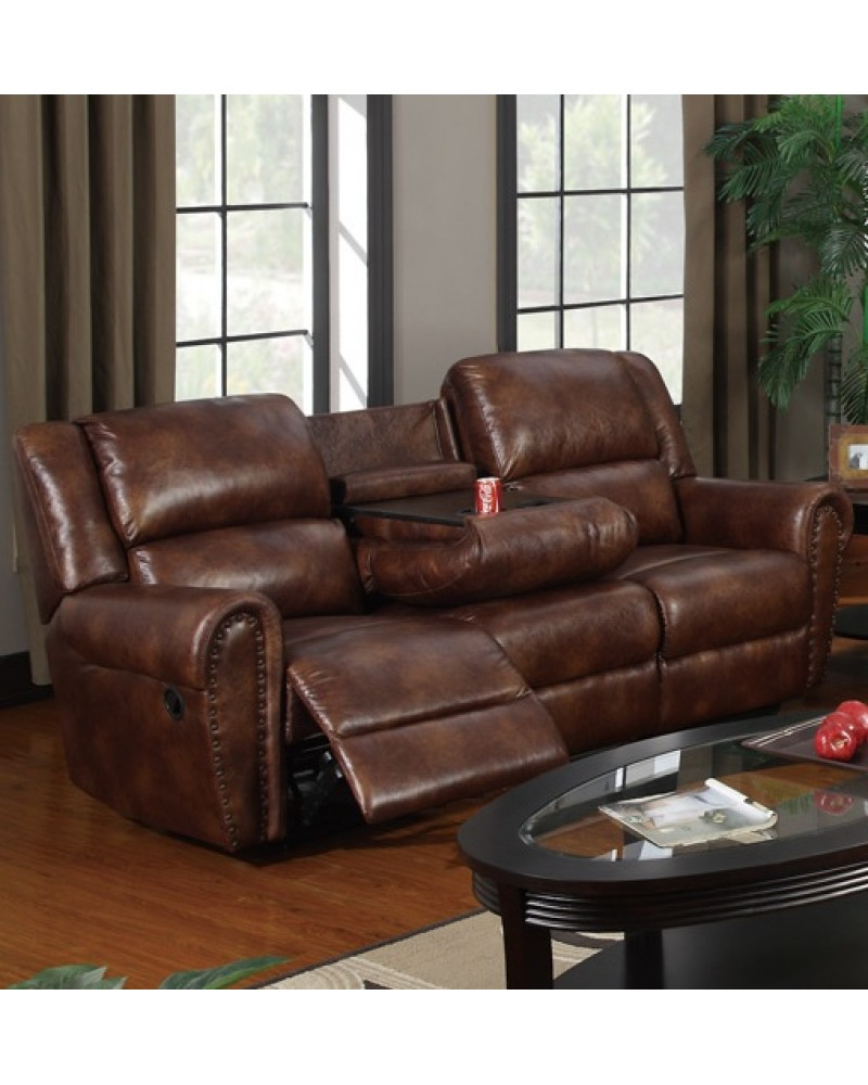 Padded Leatherette Motion Sofa, Loveseat and Recliner, Brown Sofa