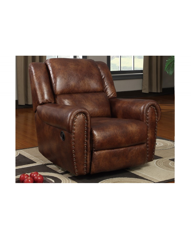 Padded Leatherette Motion Sofa, Loveseat and Recliner, Brown Rocker/Recliner