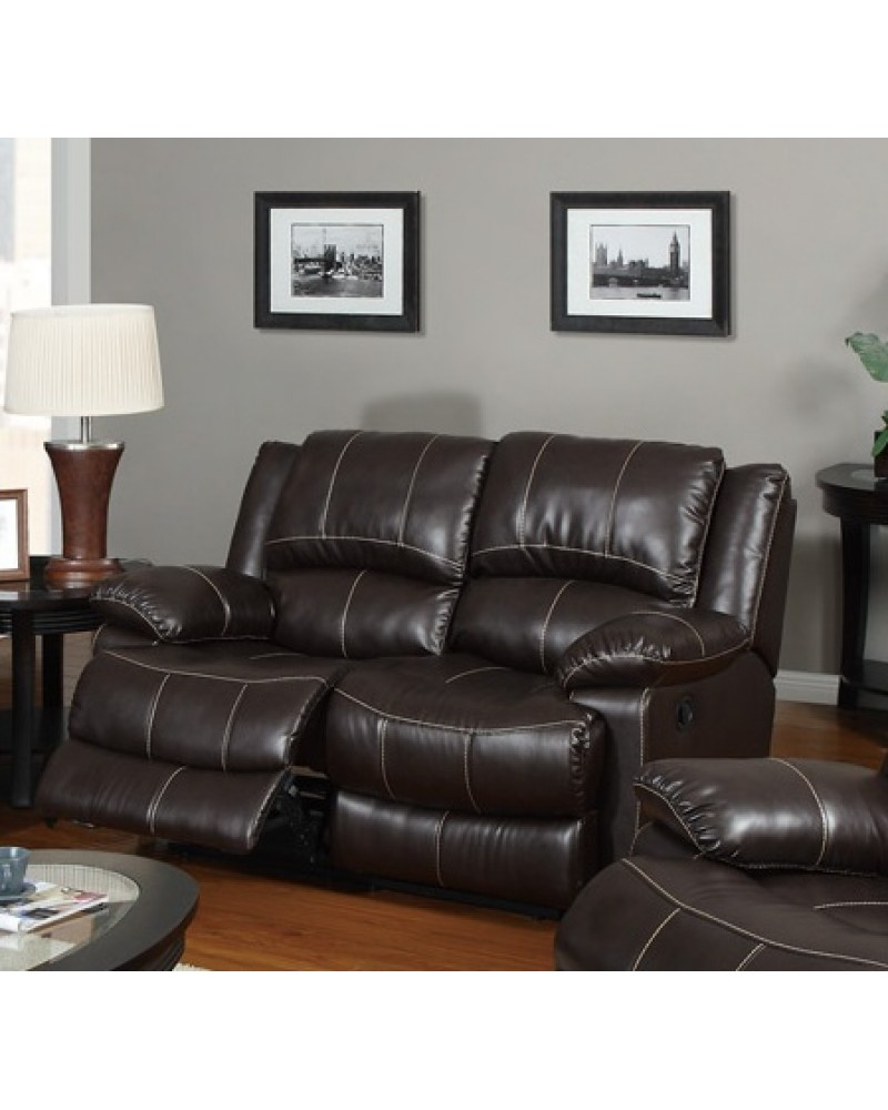 Bonded Leather Motion Sofa, Loveseat and Recliner, Dark Brown Loveseat