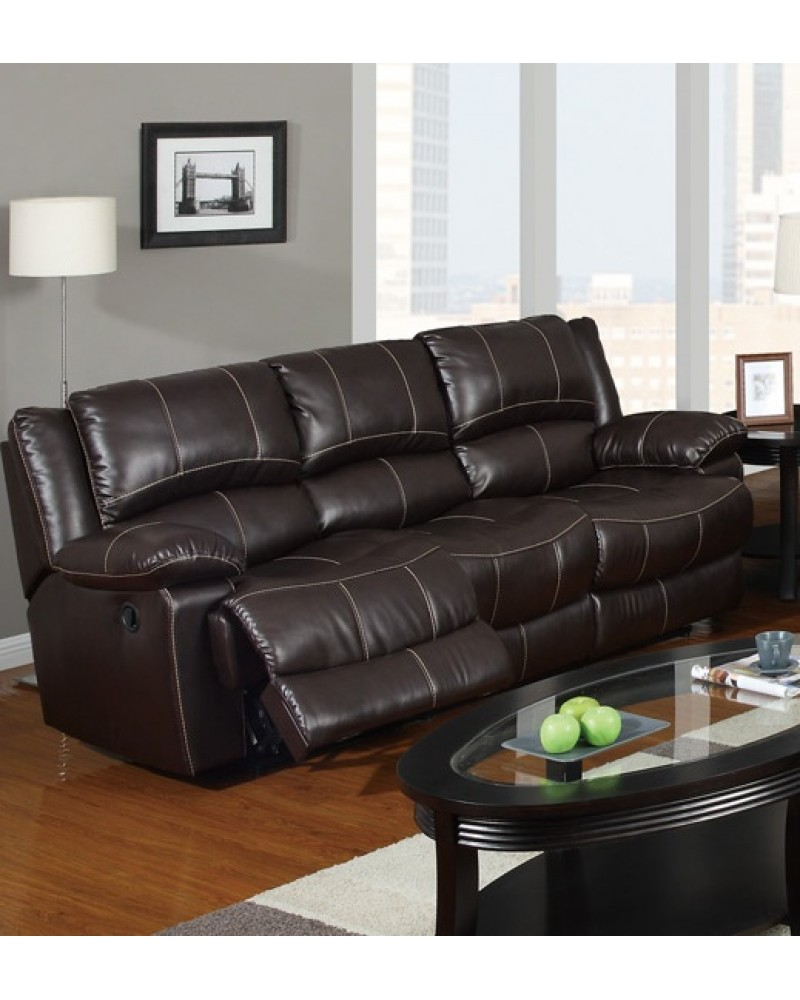 Bonded Leather Motion Sofa, Loveseat and Recliner, Dark Brown Sofa