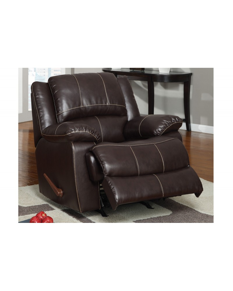 Bonded Leather Motion Sofa, Loveseat and Recliner, Dark Brown Rocker/Recliner