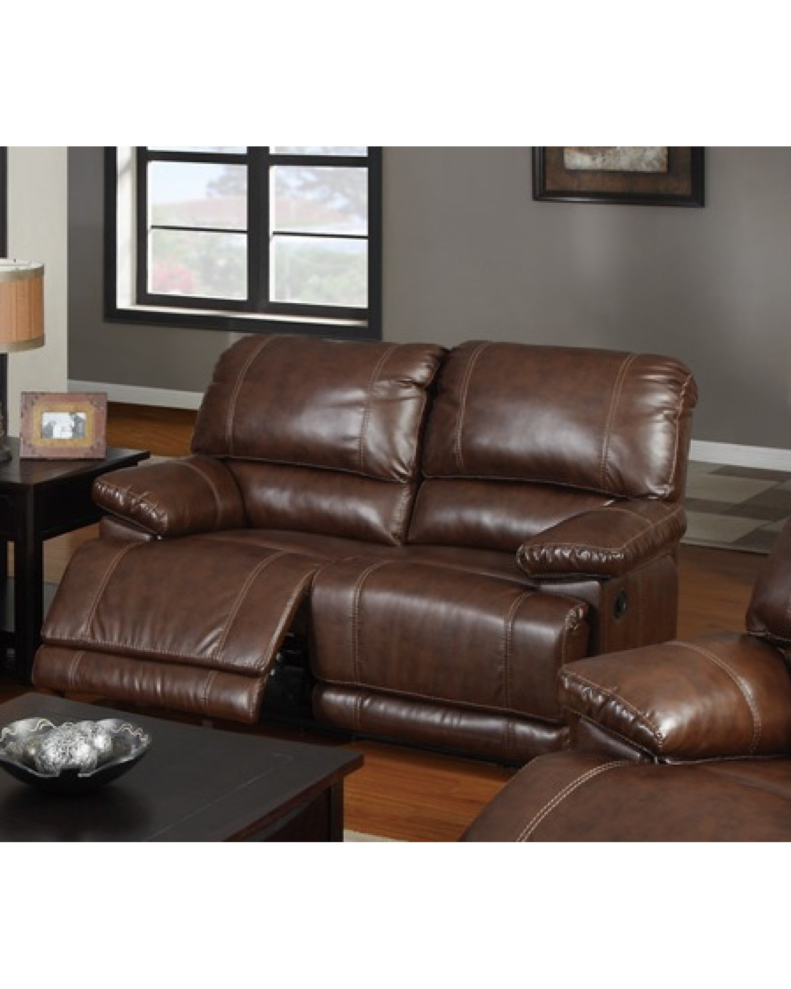 Bonded Leather Motion Sofa, Loveseat and Recliner, Mahogany