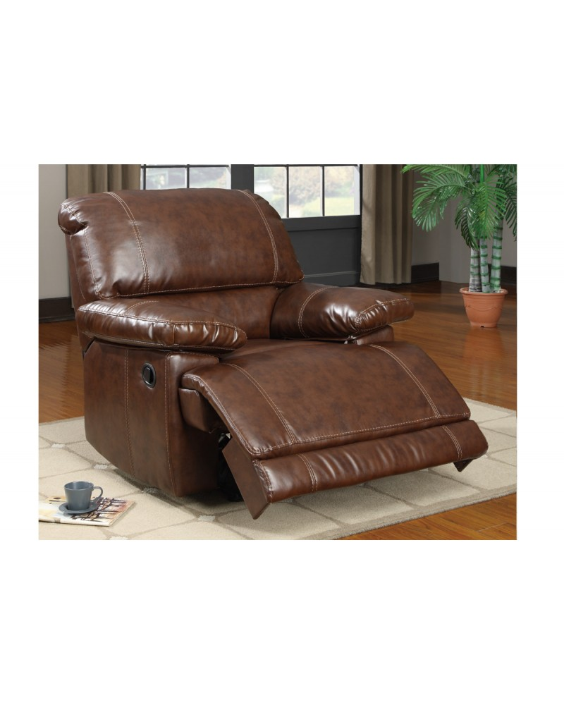 Bonded Leather Motion Sofa, Loveseat and Recliner, Mahogany Rocker/Recliner