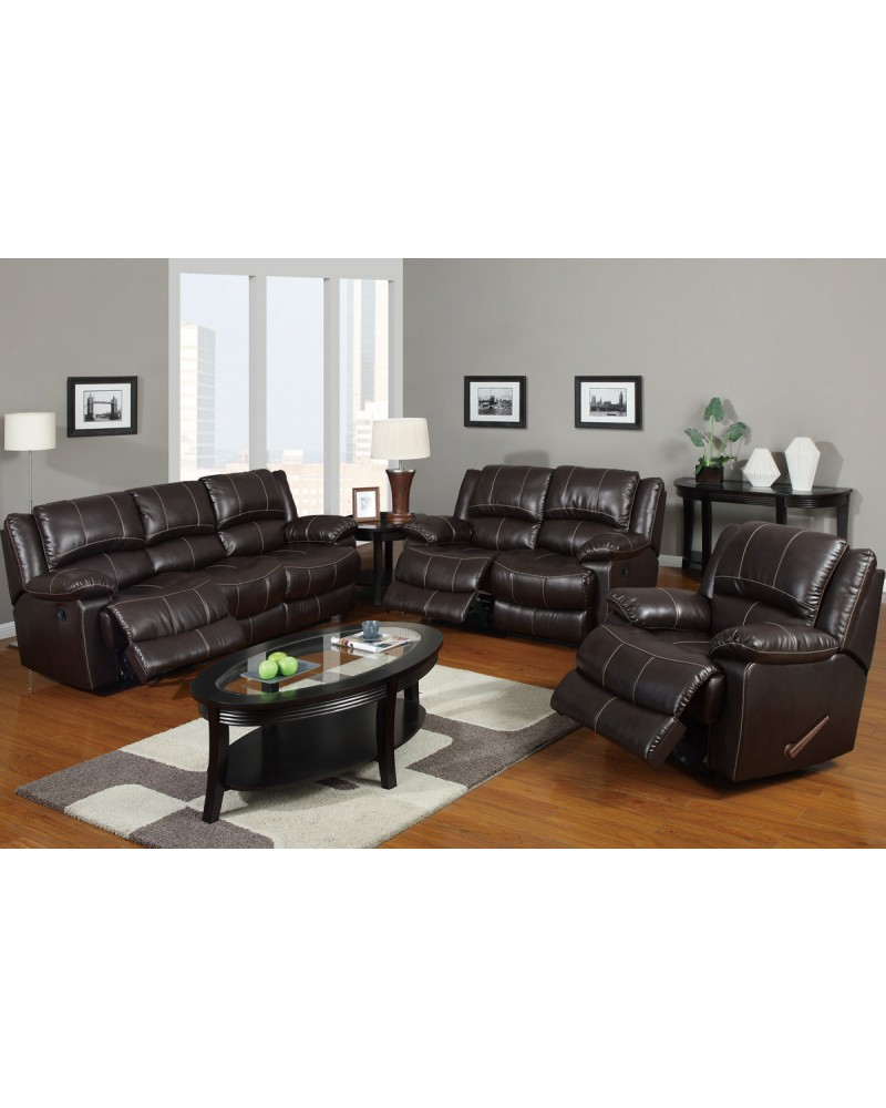Bonded Leather Motion Sofa, Loveseat and Recliner, Dark Brown
