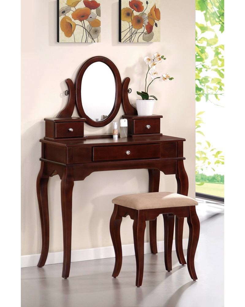 Vanity Set with Stool, Queen Anne Legs, Multiple Finishes Available