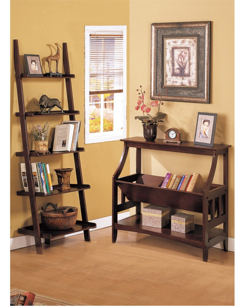 Magazine Table and Matching Wall Shelf, Walnut