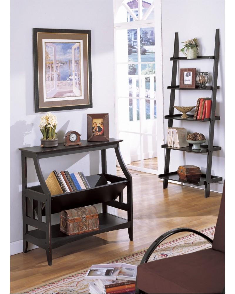 Magazine Table and Matching Wall Shelf, Black