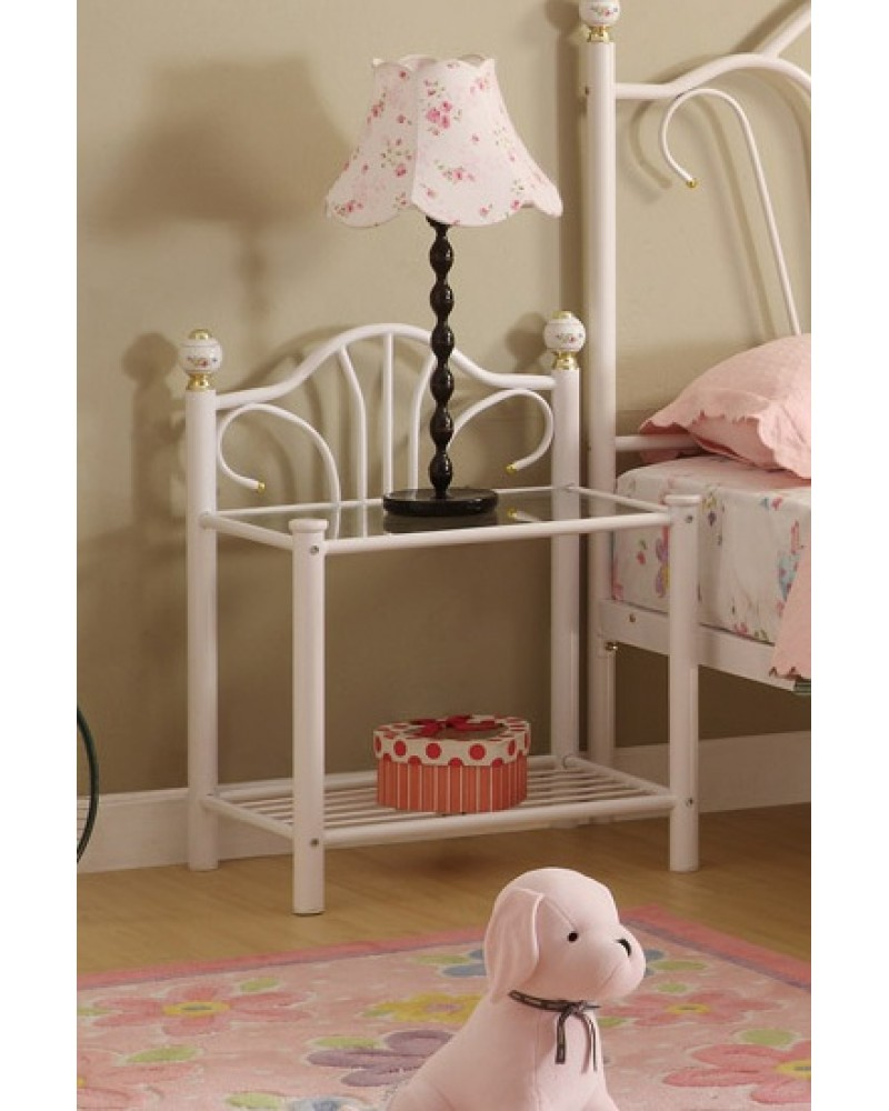 Day Bed, White Tubular Metal Frame - Twin Night Stand