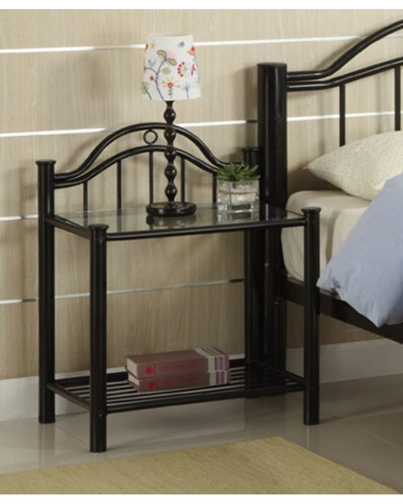 Black Metal Frame Youth Bed with Slats.  Available in Twin and Full. Night Stand