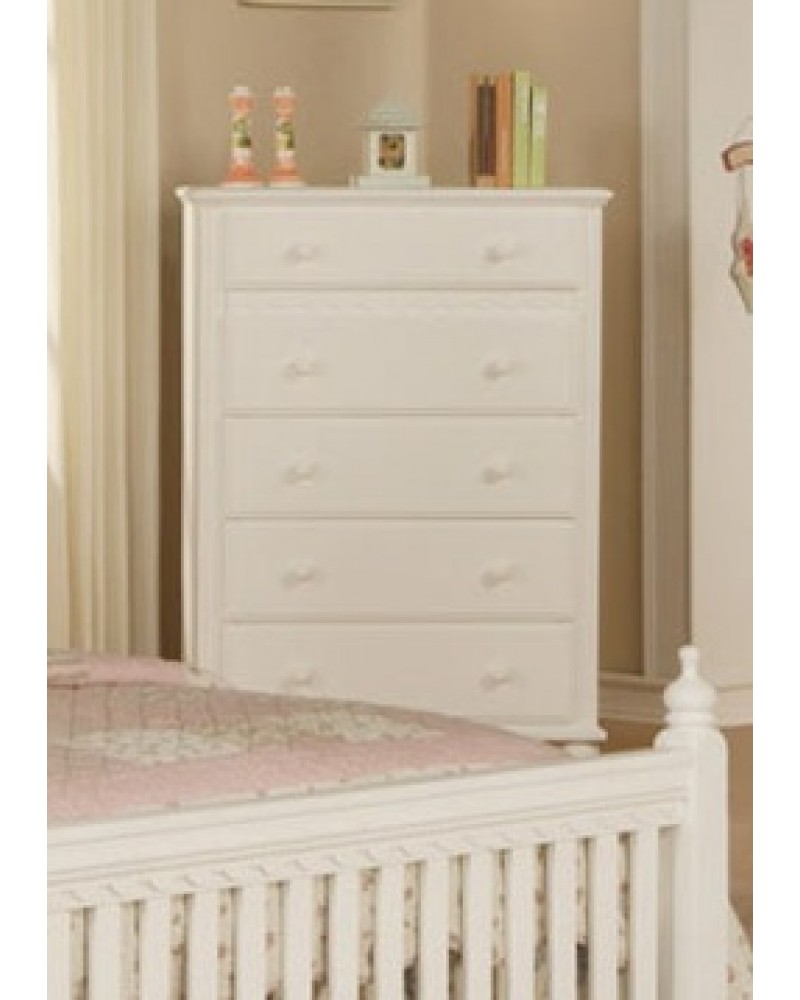 Country Style Youth Bed Set, White.  Available in Twin and Full. Chest of Drawers