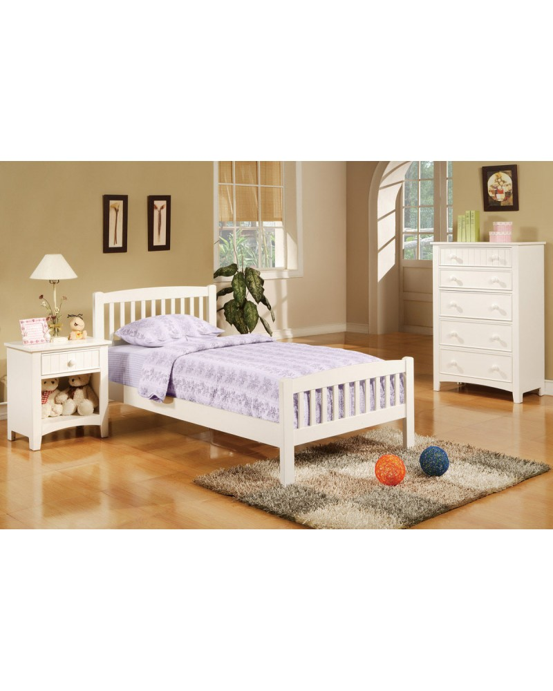 Country Style Youth Bed Set, White. Bedframe