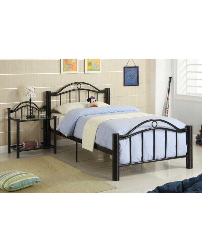 Black Metal Frame Youth Bed in Twin or Full