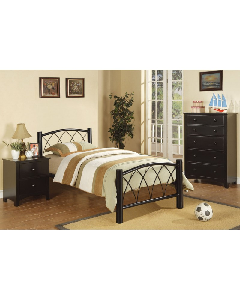Black Metal Frame Youth Bed with Slats.  Bent Metal Accents.  Available in Twin and Full.