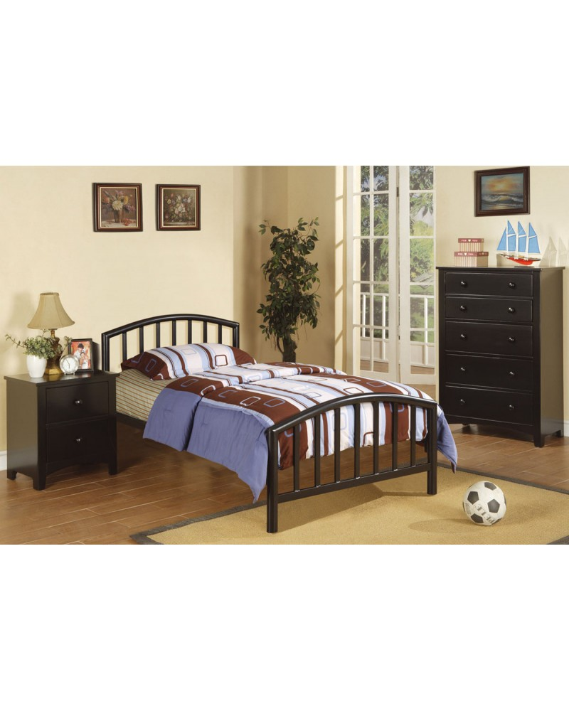 Black and Bold Youth Bedroom Set, Available in Twin and Full. Twin Bed