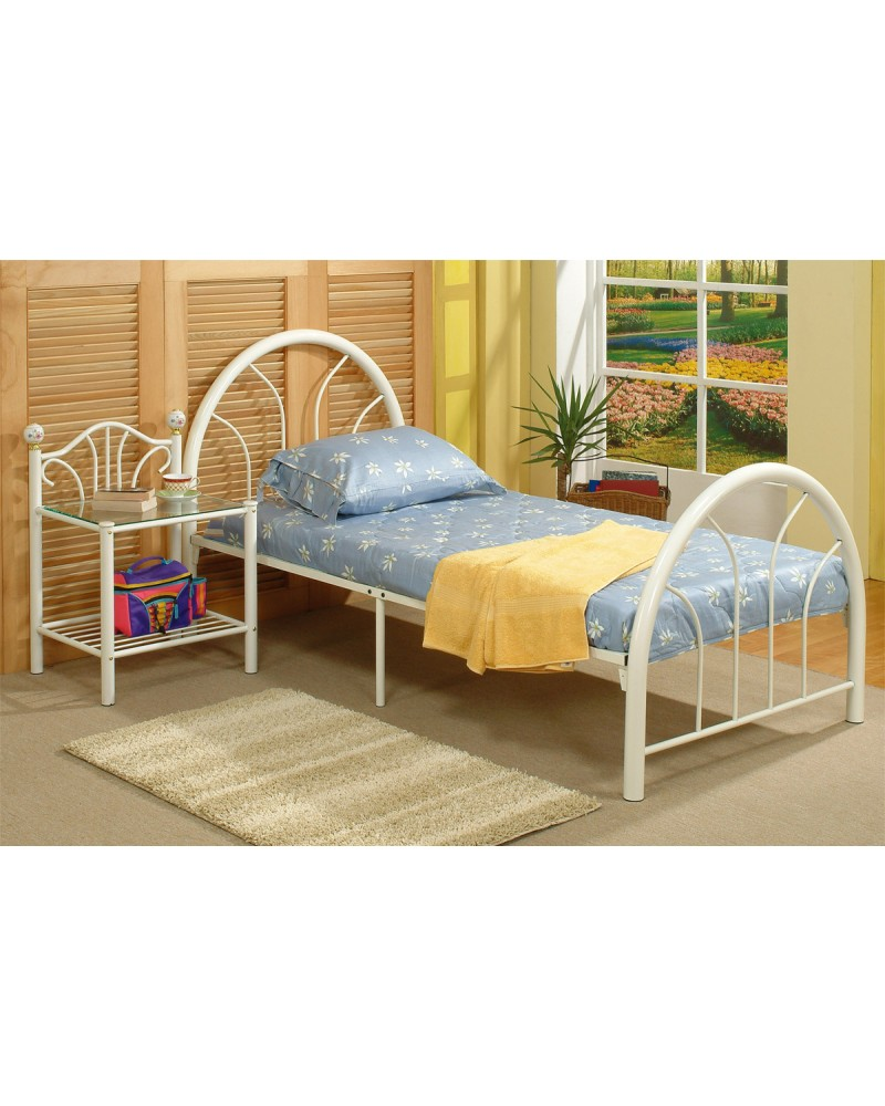 Day Bed, White Tubular Metal Frame - Twin Twin Bed