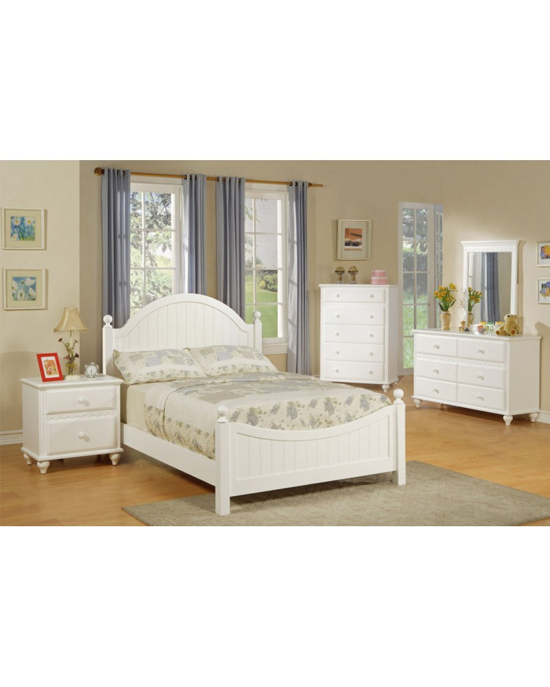 Country Style Youth Bed Set, White.  Available in Twin and Full. Full Bed