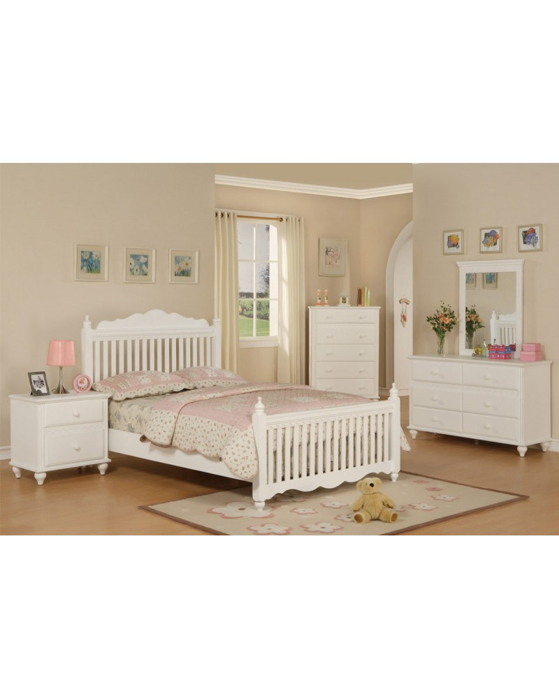 Wood Slat Youth Bedroom Set, White.  Available in Twin and Full. Full Bed